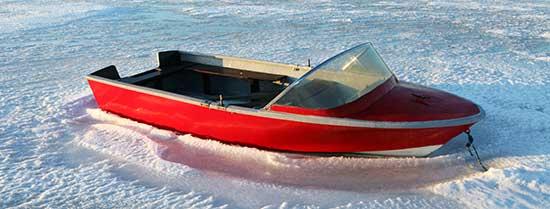 Båd på land vinter og forsikring